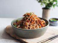 Sichuan rice noodle and pork stir-fry