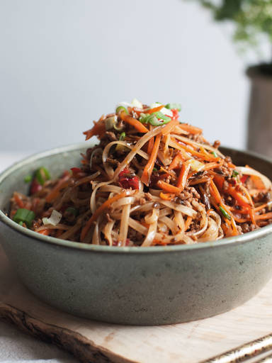 Sichuan rice noodle and pork stir fry