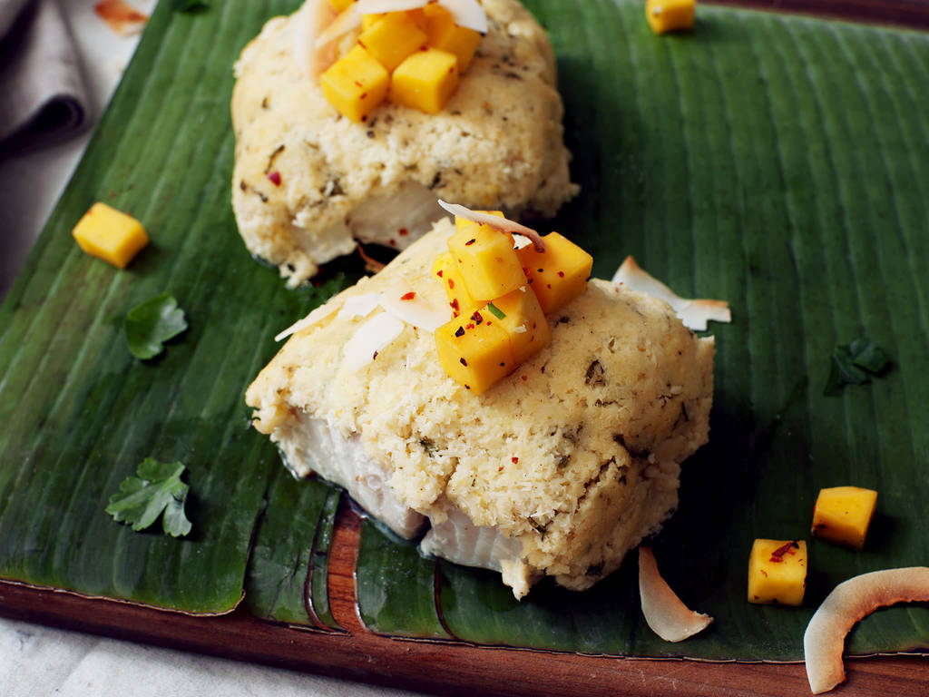 Coconut-crusted cod