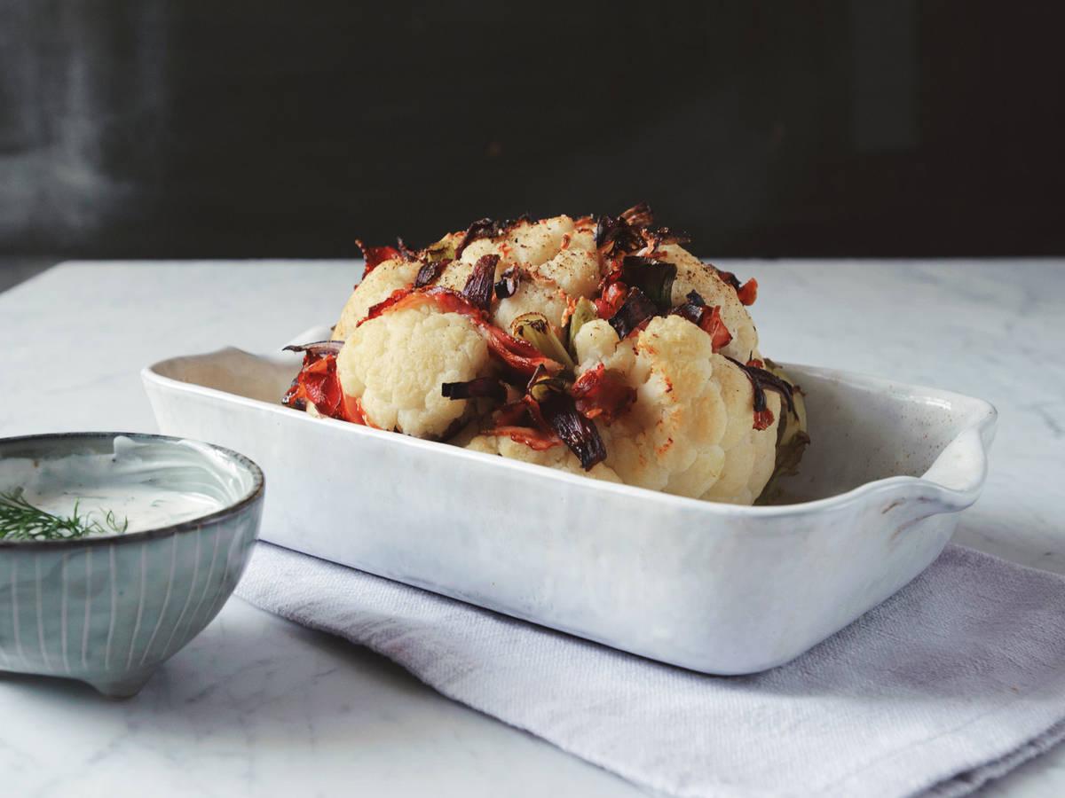 Bacon-stuffed cauliflower