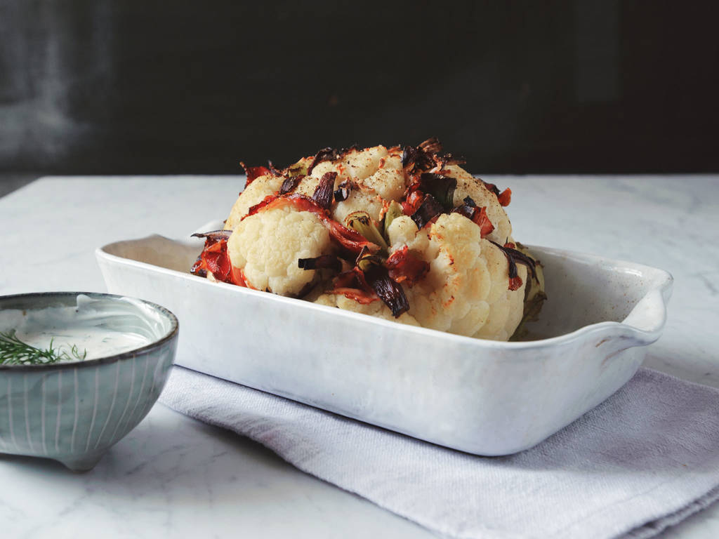 Bacon-stuffed cauliflower