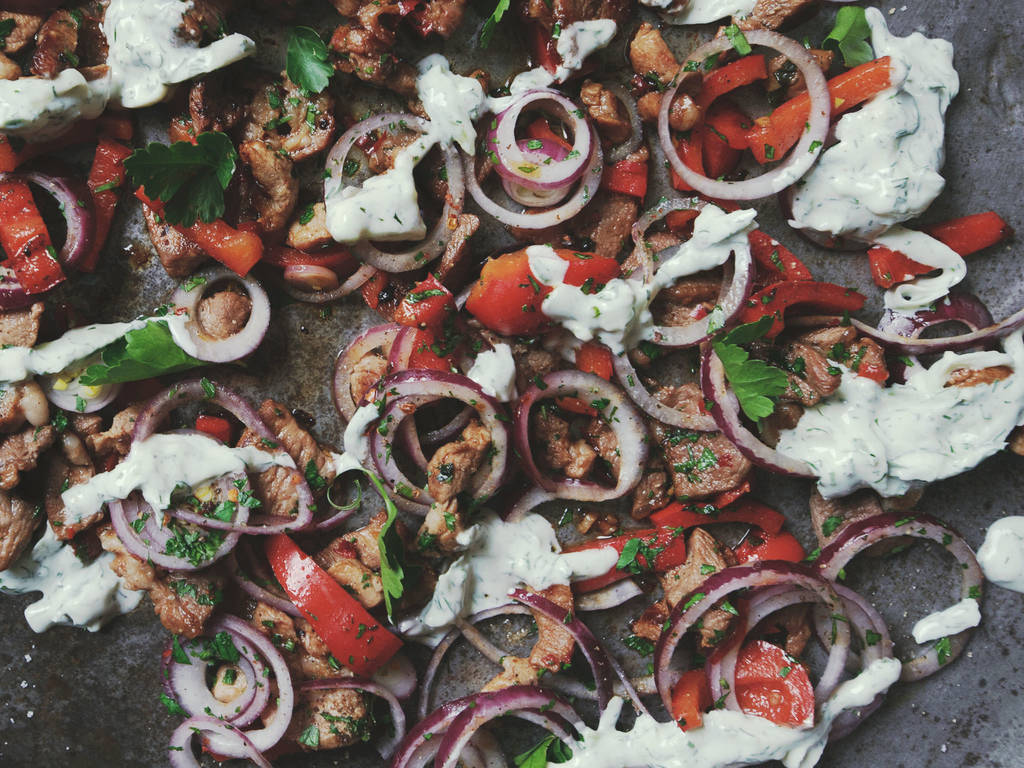 Lamb and pork gyros with tzatziki
