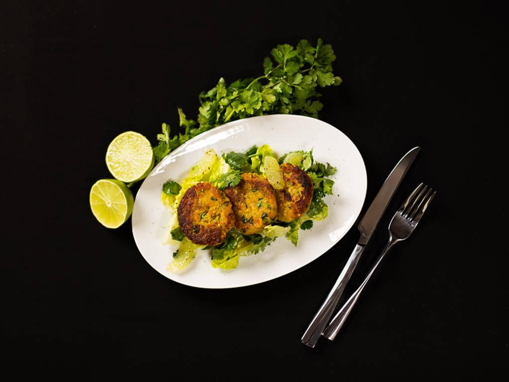 Lentil croquettes with cilantro-lime salad