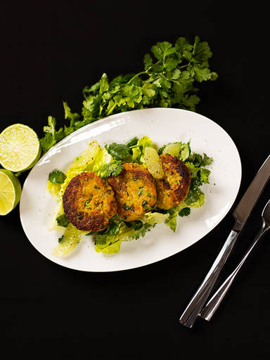 Lentil croquettes with cilantro-lime salad