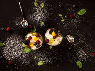 Fruit salad with basil-tarragon granita