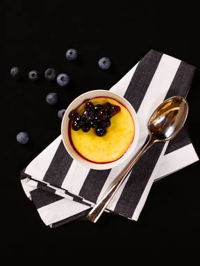 Soy vanilla pudding with blueberry sauce