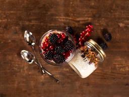 Homemade golden granola with yogurt