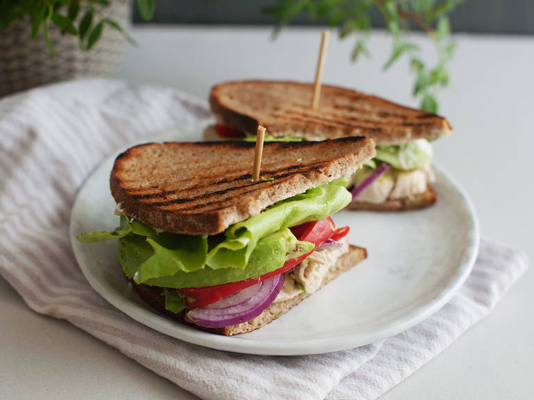Poached chicken and avocado sandwich