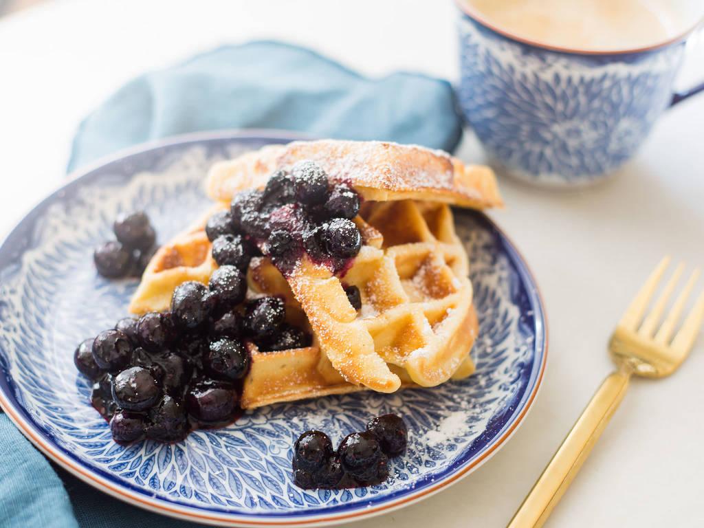 Breakfast blueberry waffles