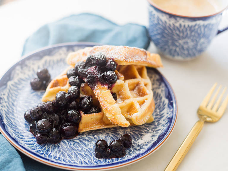 Breakfast blueberry waffles