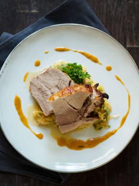 German pork roast with sauerkraut