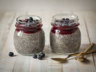 Vanilla chia pudding with warm berry sauce