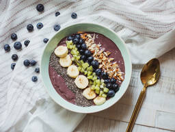 Colorful acai breakfast bowl