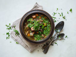 Lentil stew with sausages