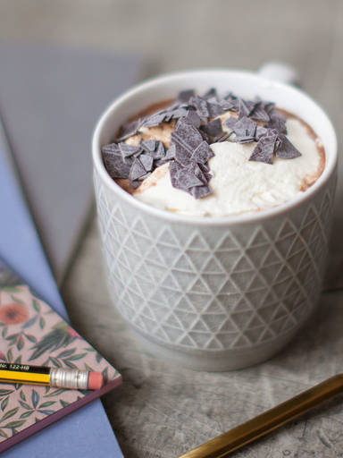 Classic hot chocolate with whipped cream