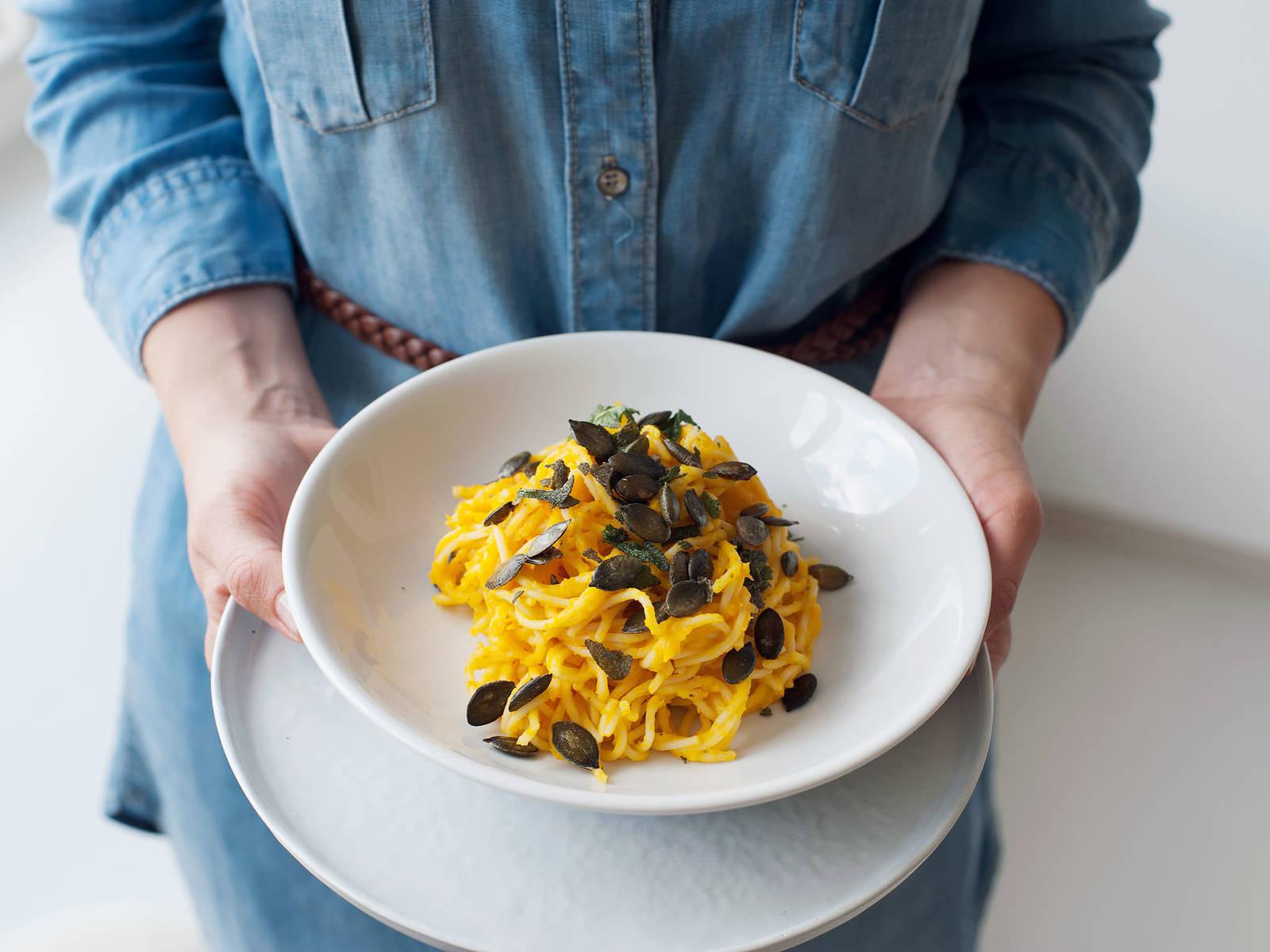 Creamy pumpkin pasta with sage