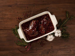 Braised venison with lingonberry sauce