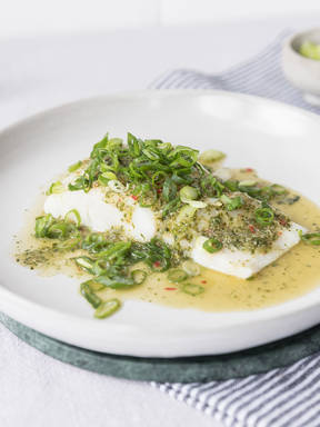 Poached sea bass with Thai dressing
