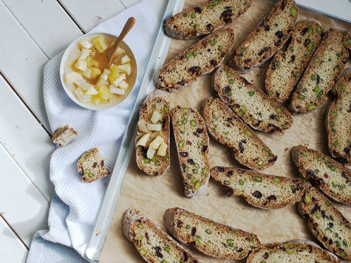 Cranberry pistachio biscotti with jam