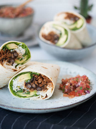 Black bean and rice veggie burritos