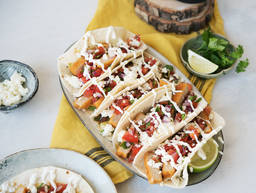 Vegetarian tacos with lime-yogurt dip