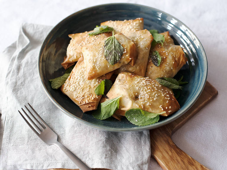 Feta and leek phyllo bites