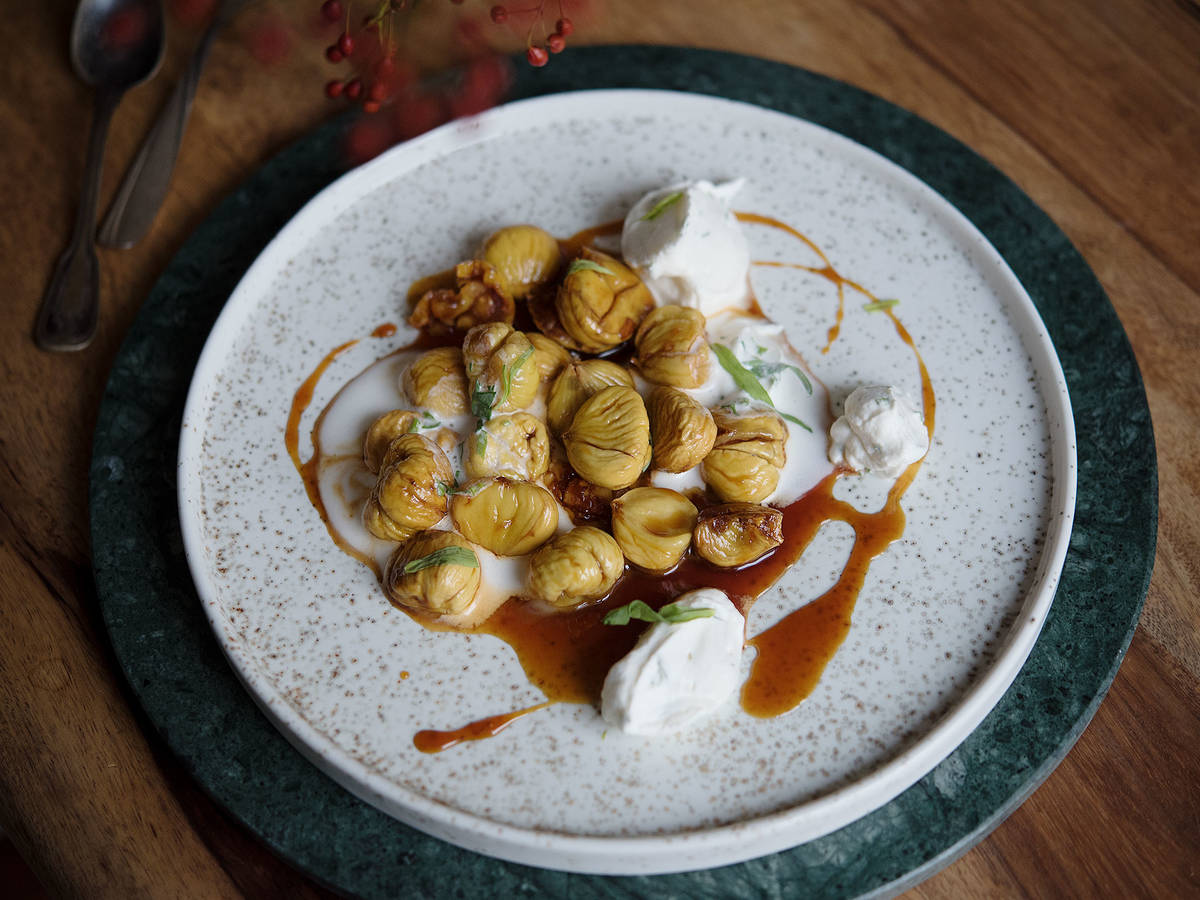 Glazed chestnuts with whipped sherry cream