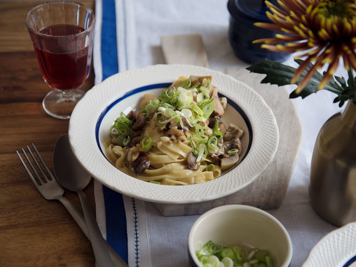 Earthy pasta with chestnuts and mushrooms