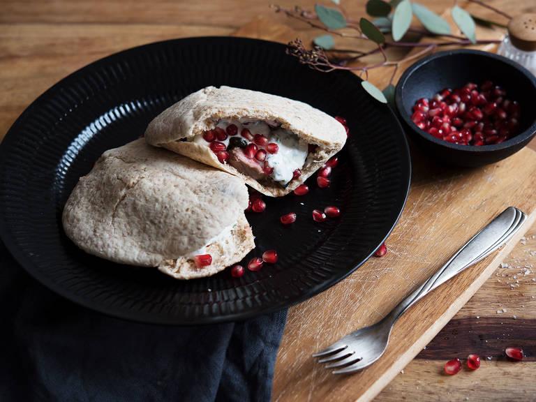 Lamb and pomegranate sandwich