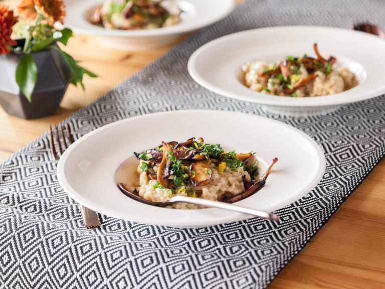 Mushroom risotto with gremolata