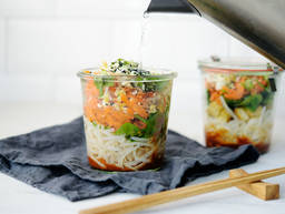 Noodle soup in a jar