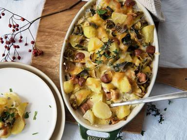 Kartoffelauflauf mit vegetarischen Würstchen