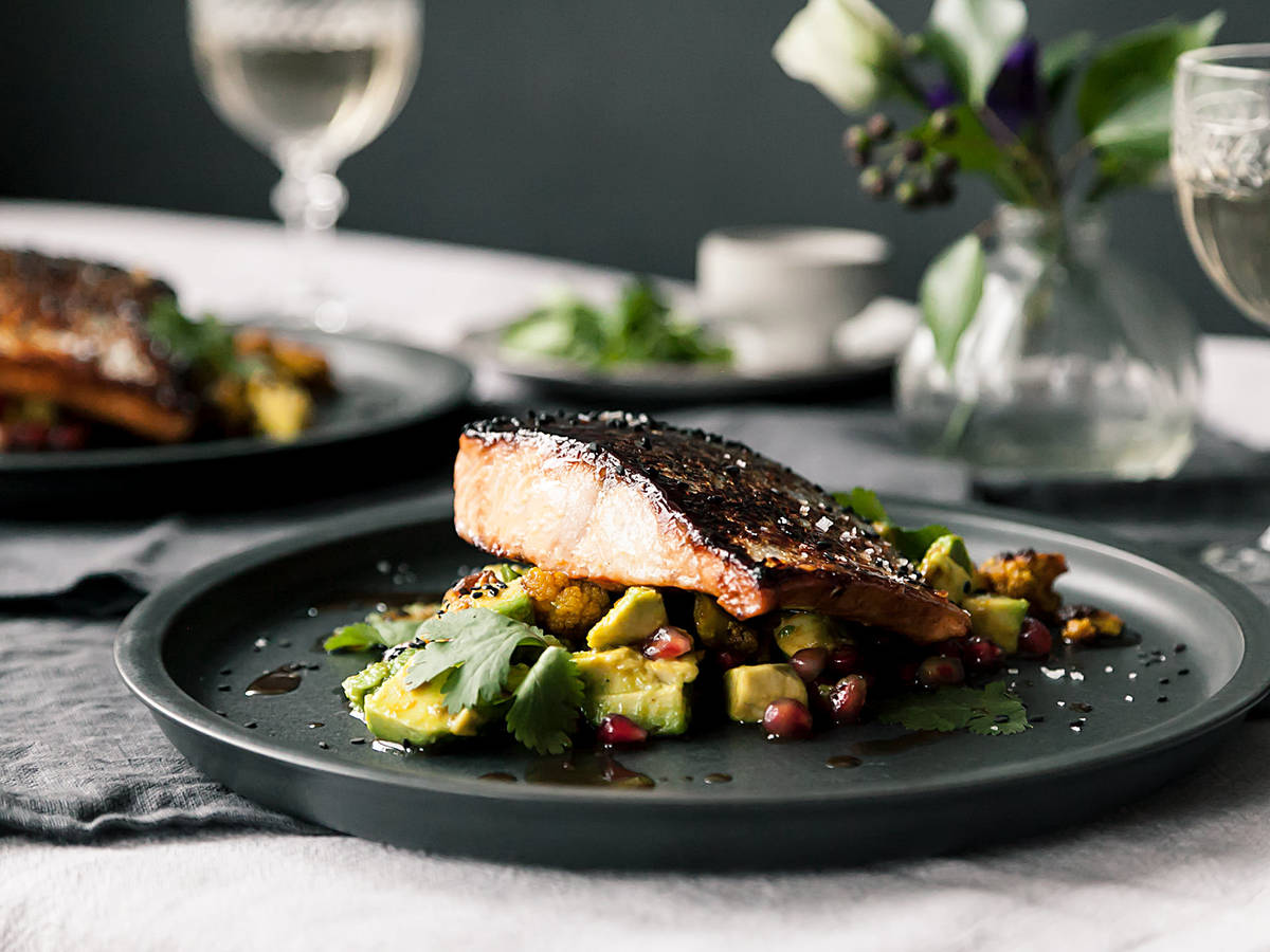 Blood orange-glazed salmon