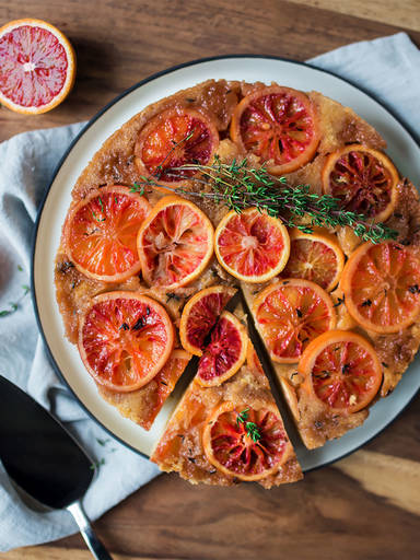 Blood orange upside-down cake with thyme
