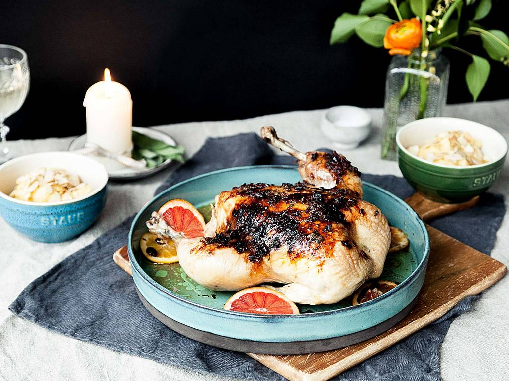 Blood orange roasted chicken with polenta