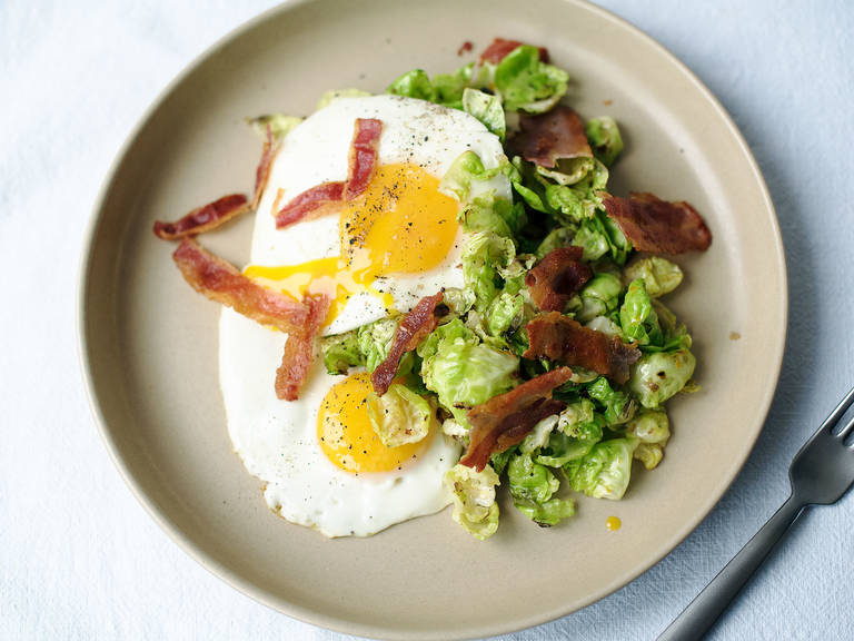 Brussels sprout hash with bacon and fried eggs