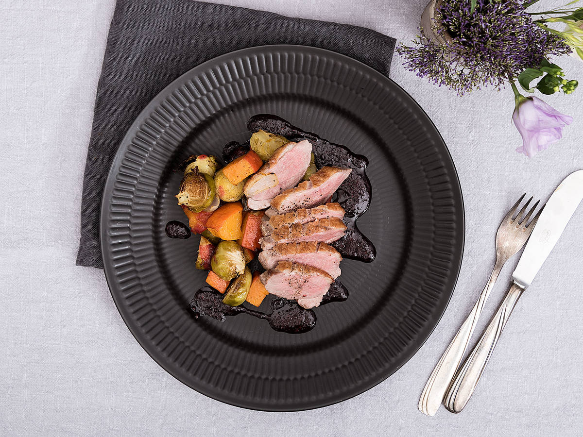 Duck breast with roasted Brussels sprouts and pumpkin