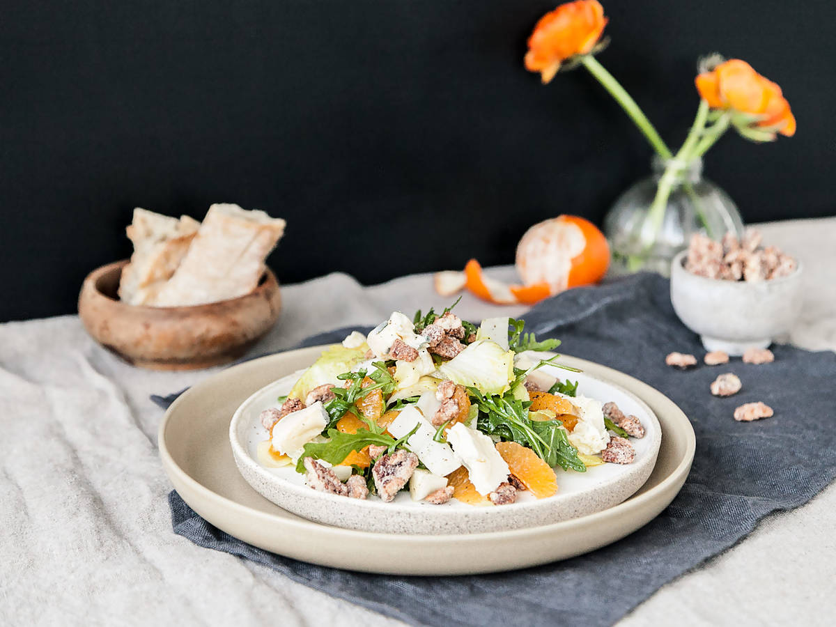 Clementine endive salad with candied pecans