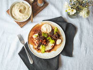 Beef ragout with celery root purée