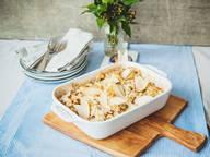 Sellerie-Gratin mit Birnen und Blauschimmelkäse