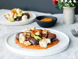 Seared vegetables with romesco sauce