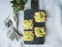 Egg salad sandwich with avocado