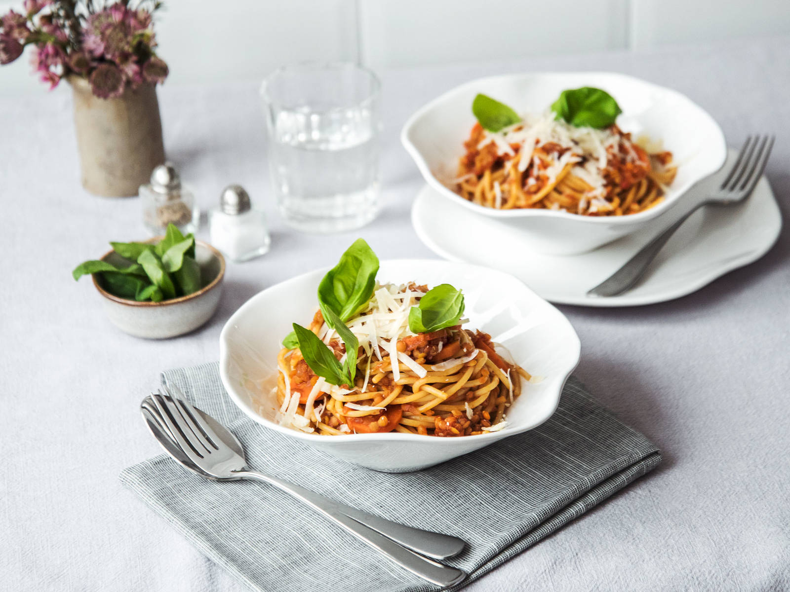 Spaghetti with lentil Bolognese