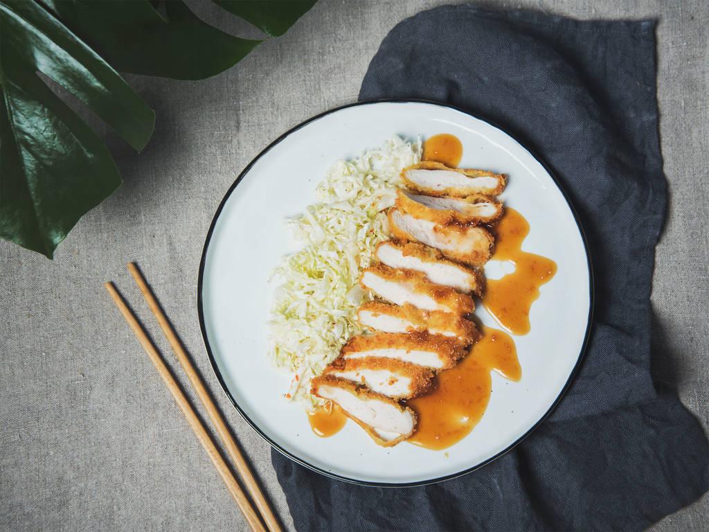 Chicken katsu with sesame cabbage salad