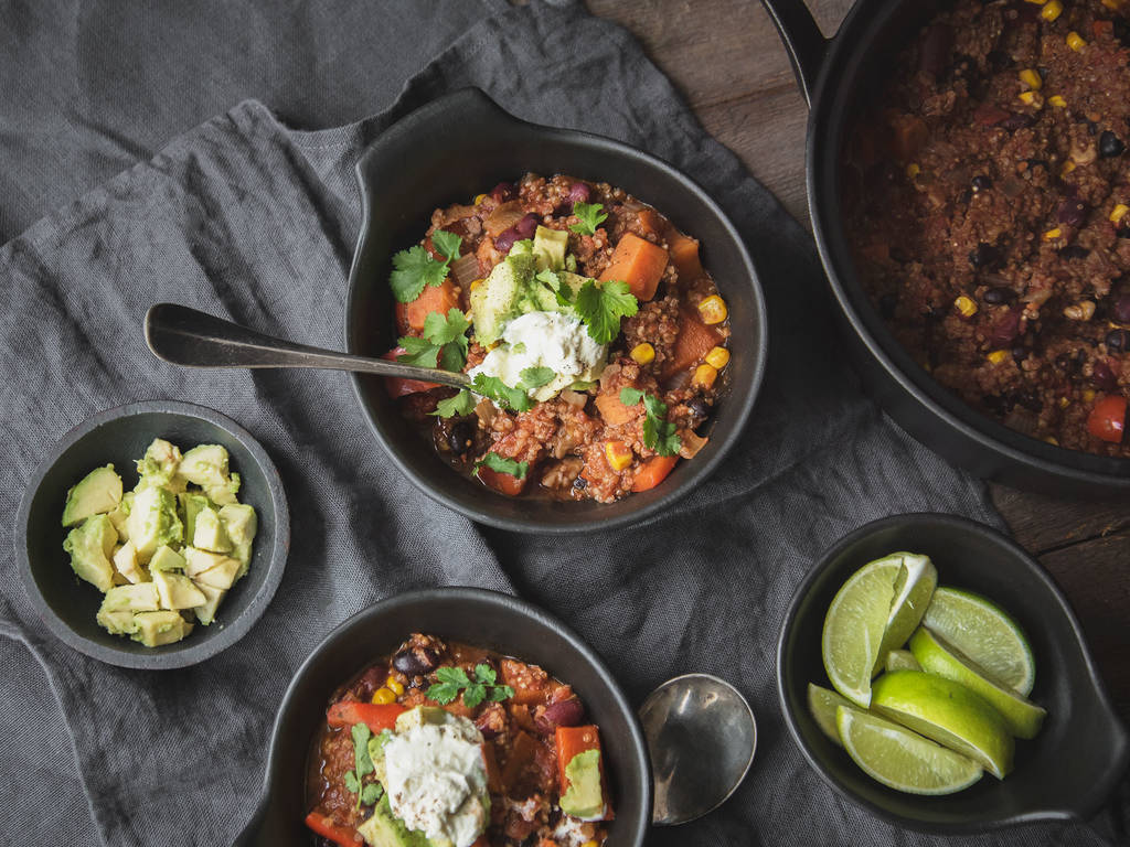 Warming sweet potato and bean chili