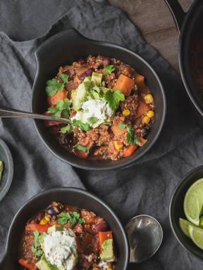 Warming sweet potato and bean chili