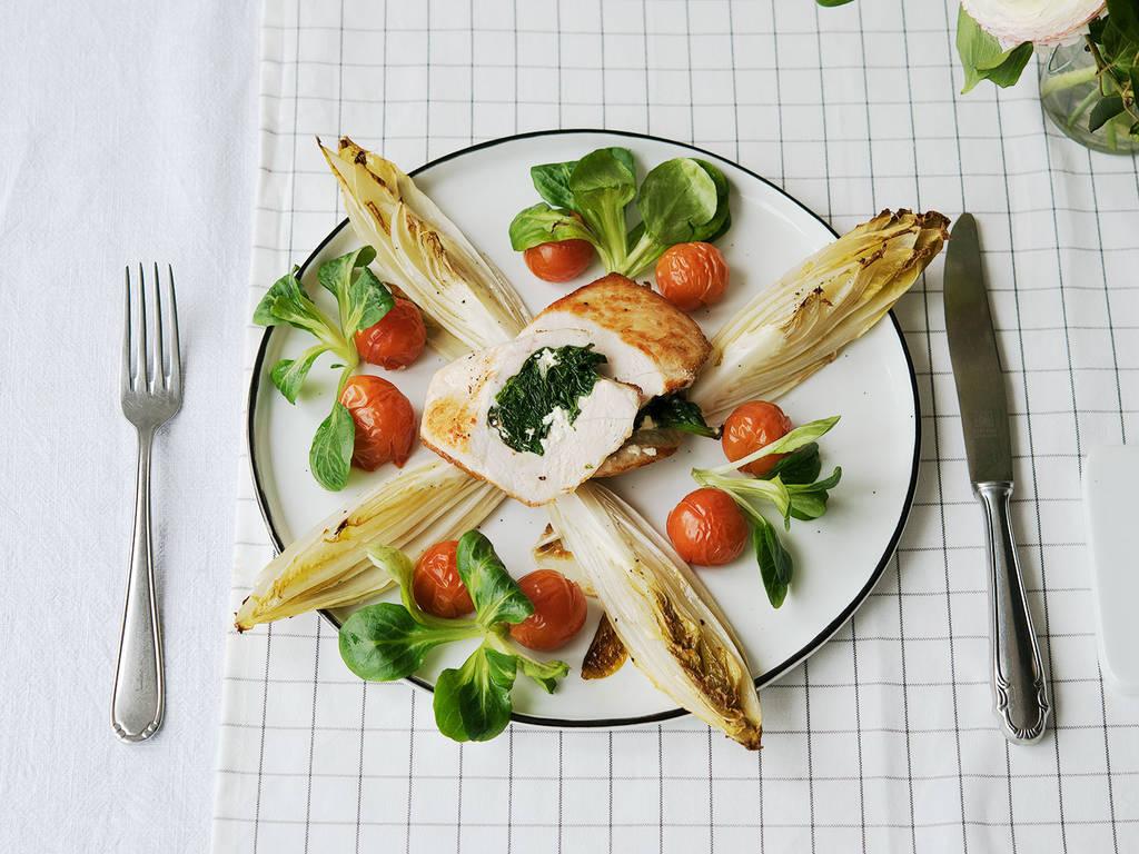Gefüllte Hähnchenbrust mit Feta und Spinat