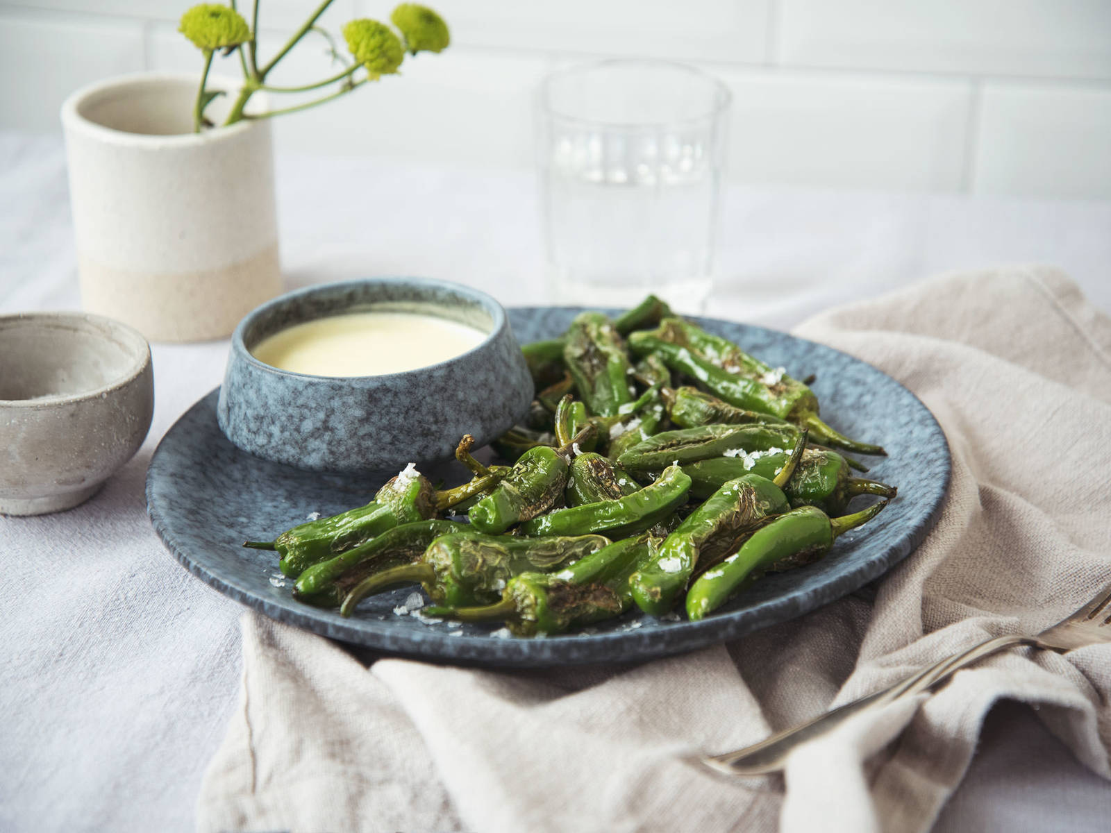 Blistered padrón peppers with garlic dip