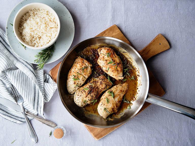 Pan-seared chicken in mustard sauce