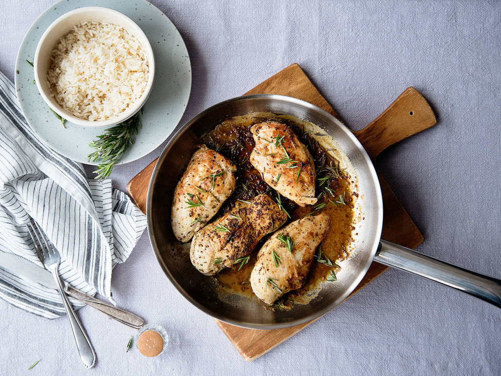 Pan-seared chicken in mustard sauce